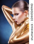 beautiful gold girl. fashion... | Shutterstock . vector #1044504940
