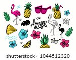 set of tropical objects with... | Shutterstock .eps vector #1044512320