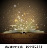 open magic book with the light. ... | Shutterstock .eps vector #104452598