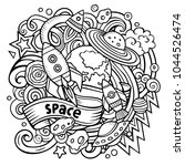 cartoon vector doodles space... | Shutterstock .eps vector #1044526474