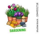 hand drawn gardening banner.... | Shutterstock .eps vector #1044531718