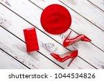 set of red parts of women's... | Shutterstock . vector #1044534826