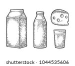 milk box carton package  glass  ... | Shutterstock .eps vector #1044535606