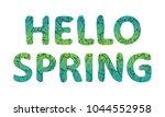 hello spring lettering. green... | Shutterstock .eps vector #1044552958