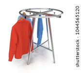 round clothing rack with shirts ... | Shutterstock . vector #1044565120