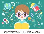 cute cartoon boy student read... | Shutterstock .eps vector #1044576289