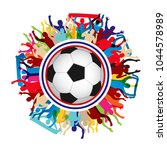 fans supporter soccer football... | Shutterstock .eps vector #1044578989