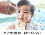 grandmother feeding cute asian... | Shutterstock . vector #1044587284