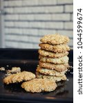 homemade oatmeal cookies with...   Shutterstock . vector #1044599674