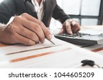 business man pointing his ideas ... | Shutterstock . vector #1044605209