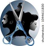 unisex hair salon logo   Shutterstock .eps vector #1044611830