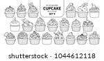set of isolated cupcake in 21... | Shutterstock .eps vector #1044612118