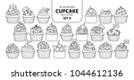 set of isolated cupcake in 21... | Shutterstock .eps vector #1044612136