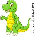 cartoon funny green dinosaur  | Shutterstock .eps vector #1044615274