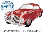 red retro car and stamp | Shutterstock . vector #1044618340