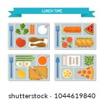 set lunches on a tray. healthy... | Shutterstock .eps vector #1044619840