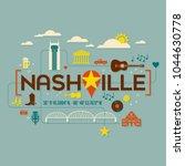 nashville landmarks ... | Shutterstock .eps vector #1044630778