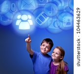 kids accessing cloud computing... | Shutterstock . vector #104463629