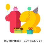 12 year greeting card birthday. ... | Shutterstock .eps vector #1044637714