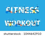 fitness workout concept of... | Shutterstock .eps vector #1044642910
