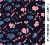 seamless love pattern with hand ... | Shutterstock . vector #1044652543
