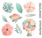 set of hand painted watercolor... | Shutterstock . vector #1044671950