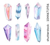 set of  bright hand painted... | Shutterstock . vector #1044671956