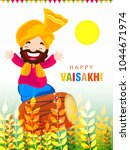 illustration of happy vaisakhi  ... | Shutterstock .eps vector #1044671974