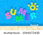 summer background. swimming... | Shutterstock .eps vector #1044672430
