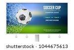 billboard with soccer match.... | Shutterstock .eps vector #1044675613