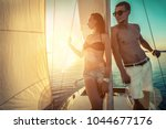 romantic couple in love on sail ... | Shutterstock . vector #1044677176