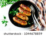 homemade sausages from turkey ... | Shutterstock . vector #1044678859