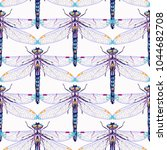 embroidery beautiful dragonfly... | Shutterstock .eps vector #1044682708