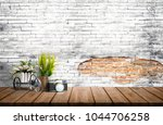 mock up old brick wall with... | Shutterstock . vector #1044706258