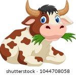 cute cartoon cow eating grass  | Shutterstock .eps vector #1044708058