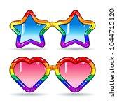 disco sunglasses in the shape... | Shutterstock .eps vector #1044715120