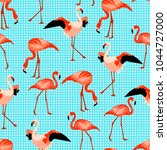 seamless pattern with flamingo. ... | Shutterstock .eps vector #1044727000