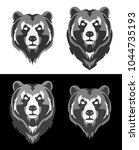 stylized bear head on white and ... | Shutterstock .eps vector #1044735193