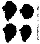 set of silhouettes of a lion...   Shutterstock .eps vector #1044735523