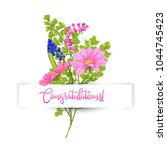 greeting card with a bouquet of ... | Shutterstock .eps vector #1044745423