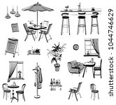 set of hand drawn furniture and ... | Shutterstock .eps vector #1044746629