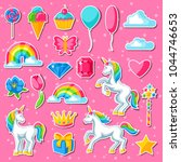 collection of unicorns and... | Shutterstock .eps vector #1044746653