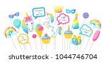 happy birthday photo booth... | Shutterstock .eps vector #1044746704