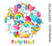 party time. card with unicorn... | Shutterstock .eps vector #1044746734