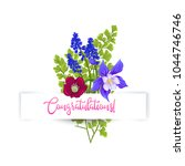 greeting card with a bouquet of ... | Shutterstock .eps vector #1044746746