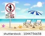 please do not litter sign on... | Shutterstock .eps vector #1044756658