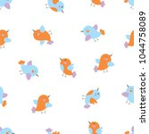 seamless pattern of the cute... | Shutterstock .eps vector #1044758089