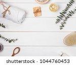 soap  massage brush  aroma oil... | Shutterstock . vector #1044760453