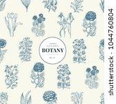 seamless botanical pattern in... | Shutterstock .eps vector #1044760804