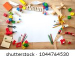top view of kids toys on floor... | Shutterstock . vector #1044764530